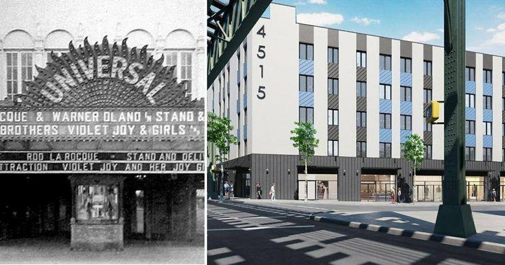 L: Photo via Cinematreasures.org, R: Rendering by Jeffrey Kamen Architect via Promont NYC's Instagram