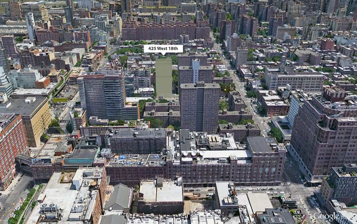 Google Earth aerial showing location of affordable housing building rising at 425 West 18th Street (CityRealty)