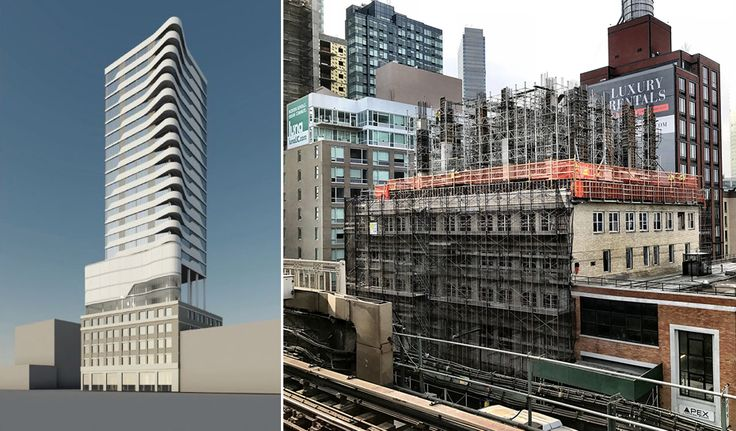 Rendering (l; Greystone Development) and photo (r; CityRealty) of 24-16 Queens Plaza South
