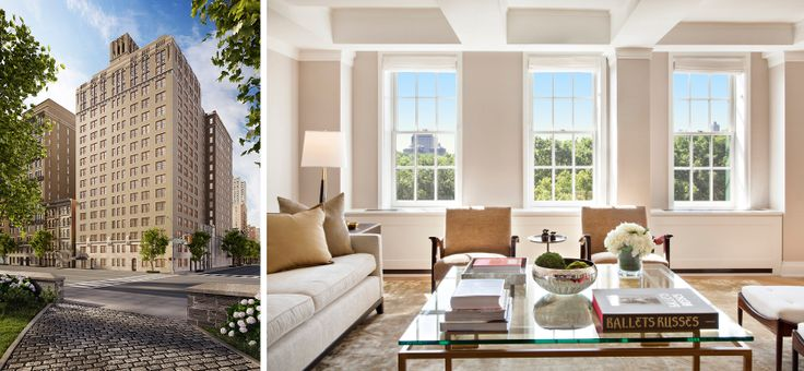 360 Central Park West (l; Redundant Pixel) and living room (r; Michael Weinstein)