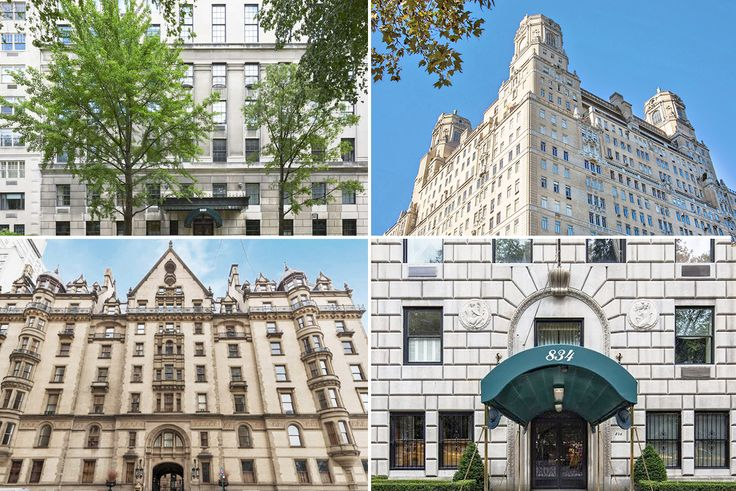 (clockwise from top left) 960 Fifth Avenue, The Beresford, 834 Fifth Avenue, and The Dakota are among New York's most prestigious co-ops.