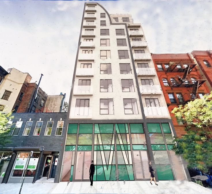 Rendering onf 308 West 133rd Street posted on the construction fence