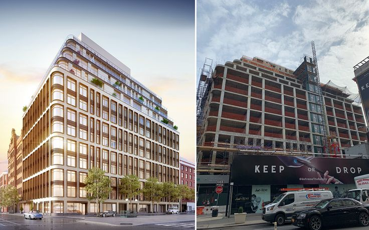 Rendering of 40 Bleecker Street (l, Williams New York) and photo circa February 2019 (r, CityRealty)