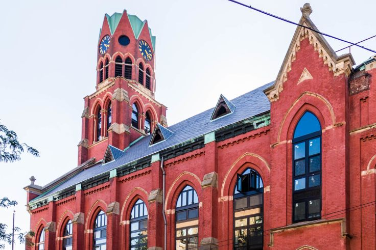 A new rental development has debuted in Bushwick, with some units located inside a former church built in the 1890s. (Image via Nooklyn.com)