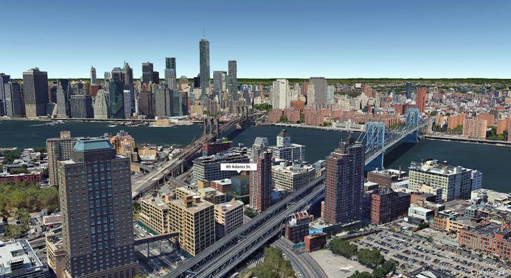 Google Earth aerial showing location of 80 Adams Street (CityRealty)