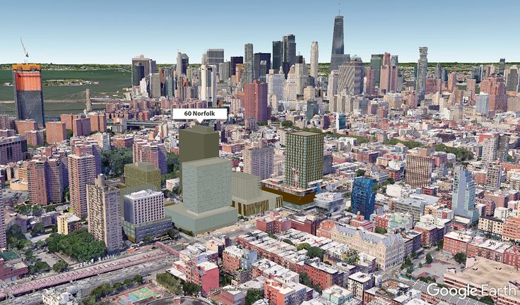 GogleEarth aerial showing location of 60 Norfolk behind Essex Crossing