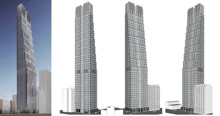 Renderings of the 666-foot-tall Tower slated for the Upper West Side