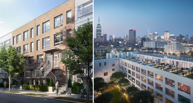 Townhouse on the Park, a rare collection of rowhouse rentals in Long Island City (All renderings via MAQE)