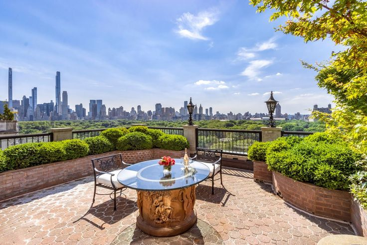 Private terrace at 990 Fifth Avenue overlooking Central Park and the Manhattan skyline