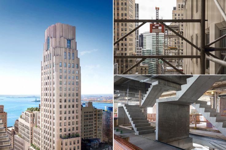 Recent rendering and construction photos of One Wall Street via Macklowe/CORE