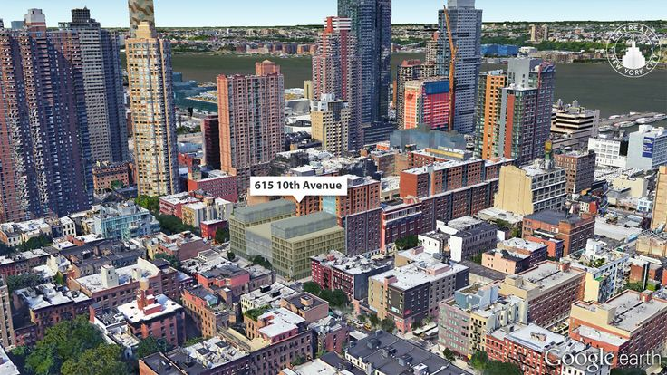 Google Earth View of 615 Tenth Avenue in Hell's Kitchen. Photo via CityRealty