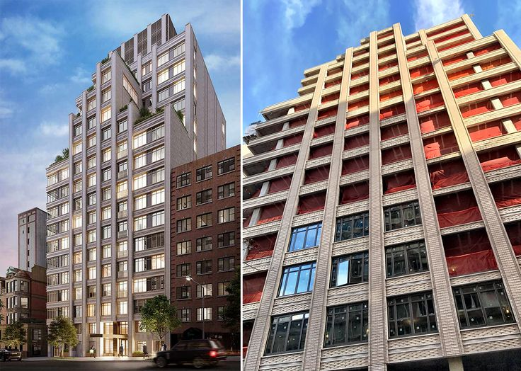 The Chamberlain rendering (l; FXCollaborative) and progress (r; CityRealty)