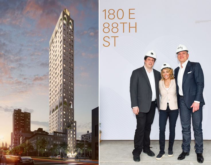 Rendering of 180 East 88th Street  and event photo with Ephram Lustgarten, Pamela Liebman, Joseph McMillan (Photo Credit: Sean Zanni for Patrick McMullan)