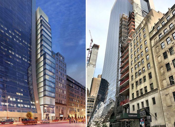 7 West 57th Street rendering and photo via Ondel/CityRealty