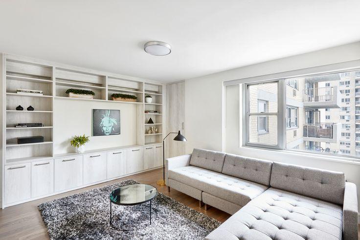 Model living room at 100 West (Warburg Realty)
