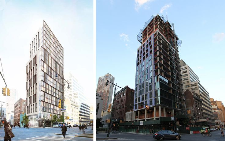 415 Red Hook Lane has recently topped out at 210 feet. Rendering on left via CMA, recent construction photo on right