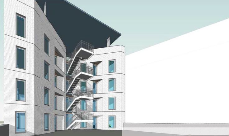 Rendering of 82 Ainslie Street, a 5-Story, 16-Unit rental building in Williamsburg, Brooklyn (Syndicate Architecture)