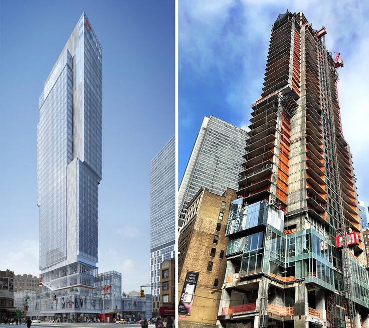 Renderings of NYC's first Virgin Hotel (l, VOA Associates / Lam Group) and construction progress circa February 2019 (r, CityRealty)