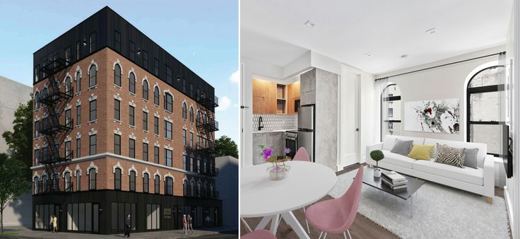 Rendering of a renovated 352 East 105th Street and a model interior (All image via Compass)