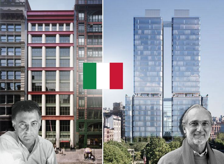 When walking through New York, the work of Italian designers goes beyond high-end boutiques (The Scholastic Building via Wiki Commons; 565 Broome Street via Douglas Elliman)