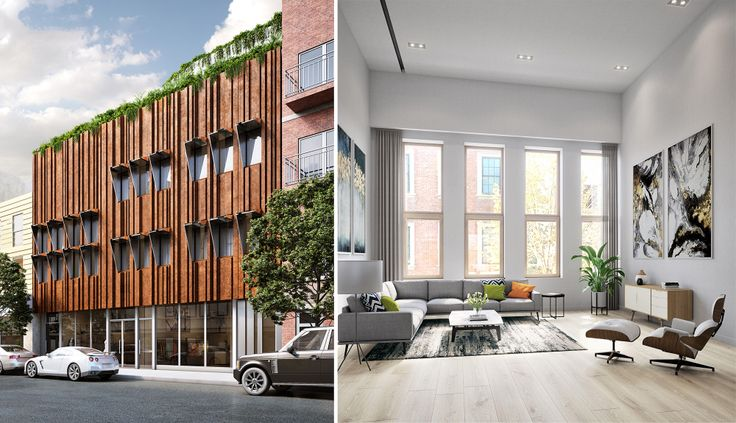 Renderings of 285 Grand Street, a Passive House under construction in Williamsburg (Corcoran)