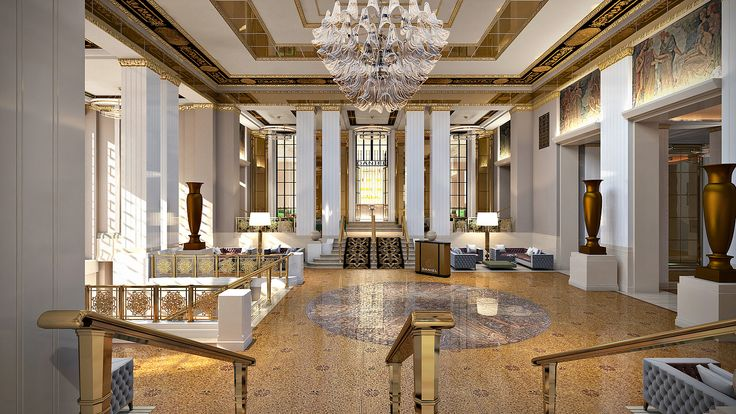 Restored Park Avenue foyer with Louis Rigal mosaic