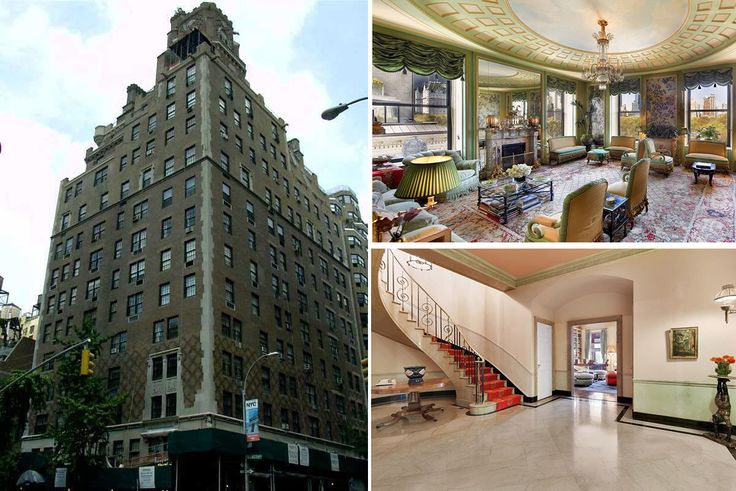 (clockwise from left) 133 East 80th Street, 834 Fifth Avenue living room, and 740 Park Avenue staircase (CityRealty