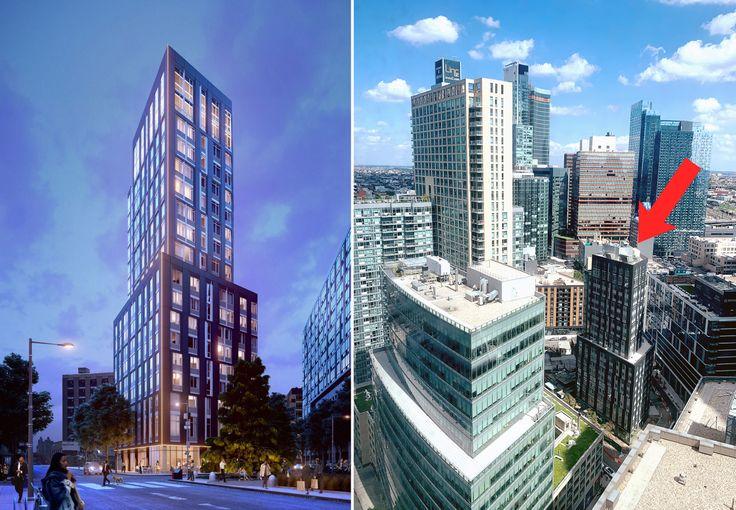 (l-r) Rendering via NEAT Agency; construction progress via CityRealty