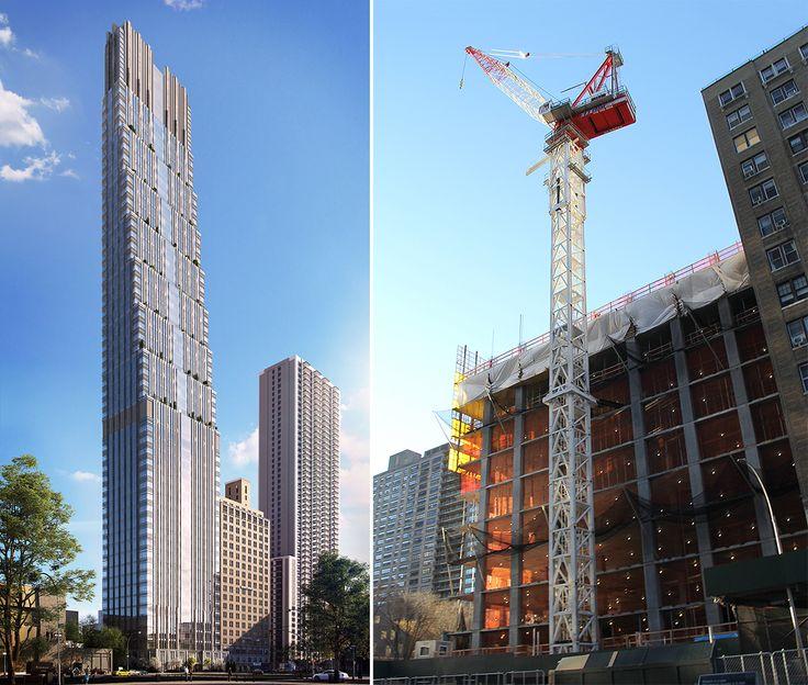 200 Amsterdam Avenue rendering (l, Elkus Manfredi) and photo circa December 2018 (r, CityRealty)