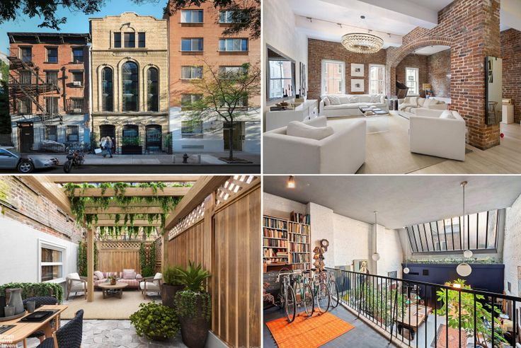 Collage of NYC apartments featuring brick walls and embellishments