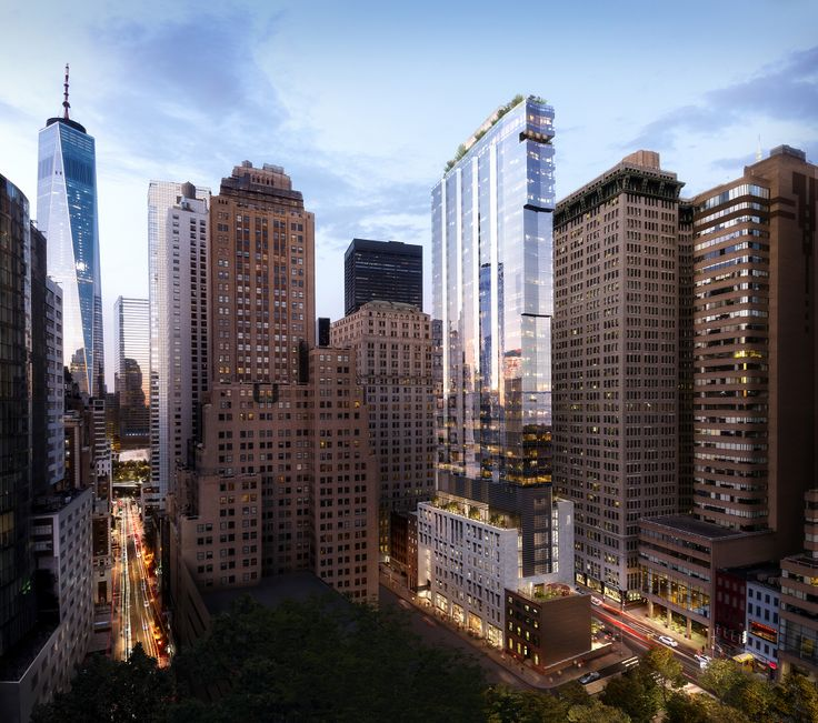 Amenity-rich buildings like 77 Greenwich (center) are on the rise. (Image via Binyan Studios)