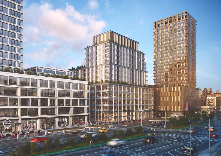 Rendering of 202 Broome Street (center), 180 Broome Street (left), and 115 Delancey Street (right) via Moso Studio