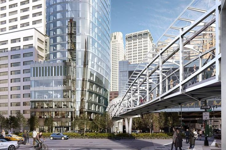 The plaza will lead to a 230-foot-long pedestrian bridge connecting the Financial District to Battery Park City.