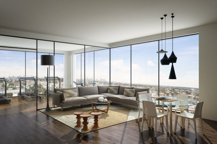Corner Living Room bathed with light; Modern Spaces
