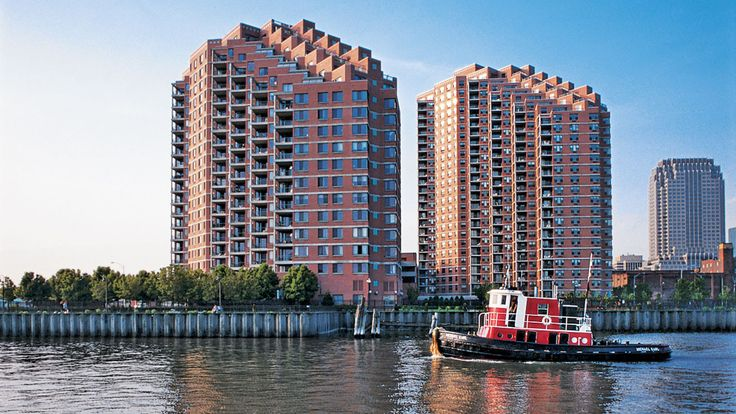 Portside Towers is a luxury waterfront rental community at 155 Washington Street in Jersey City. (Image via Equity Residential)