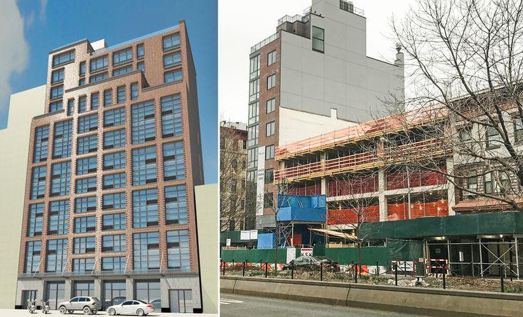 L: Rendering via SMA Equities, R: Construction of 255 East Houston Street taken Mar. 20 (CityRealty)