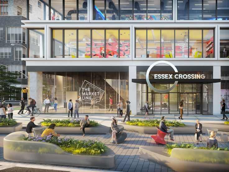Rendering of the urban plaza along Delancey Street to front 180 Broome's office entrance (Handel Architects)