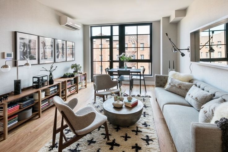 Staged living room at 2100 Bedfor; Photos via MNS