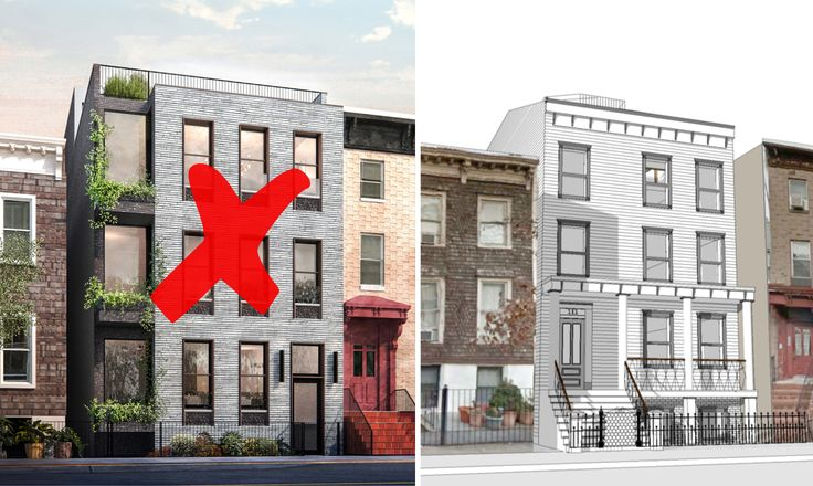 Rejected design (l) and new rendering (r) for 111 Noble Street via MDIM