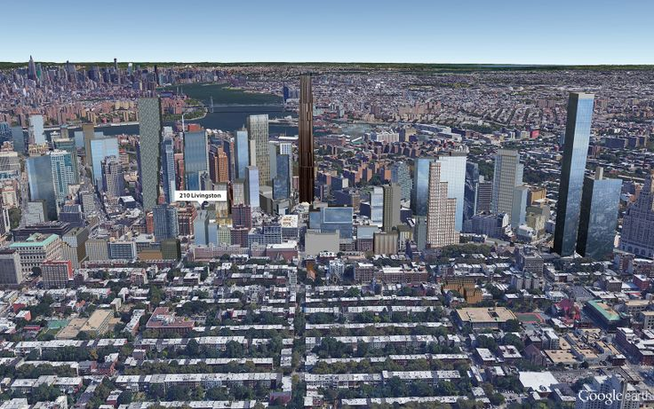 Google Earth aerial showing location of 210 Livingston Street (CityRealty)