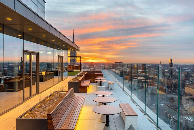 The Eugene's common rooftop terrace is the highest of any rental building in Manhattan