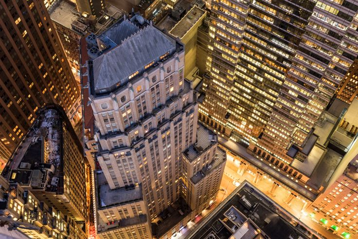 Aerial view of 63 and 67 Wall Street in the Financial District, via 63wallstreet.com