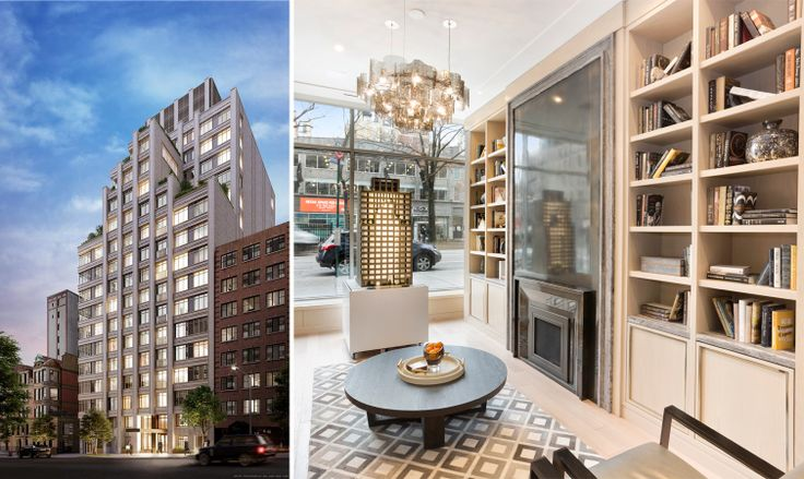 Rendering of the Chamberlain courtesy of WIlliams NY (l); Chamberlain sales gallery photo (r)