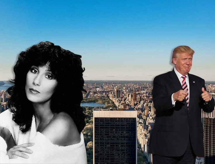 Cher and Donald Trump via Wiki Commons; skyline view via The Corcoran Group