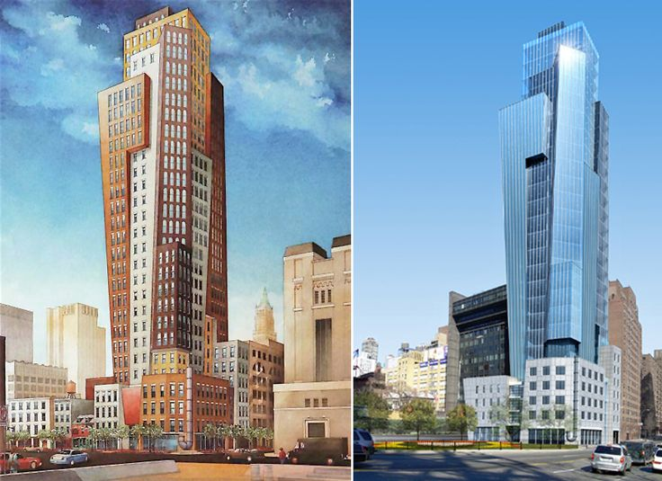 L: Watercolor rendering by Sven Johnson, R: A glassier design for the corner of East 62nd and York Avenue (The Vendome Group)