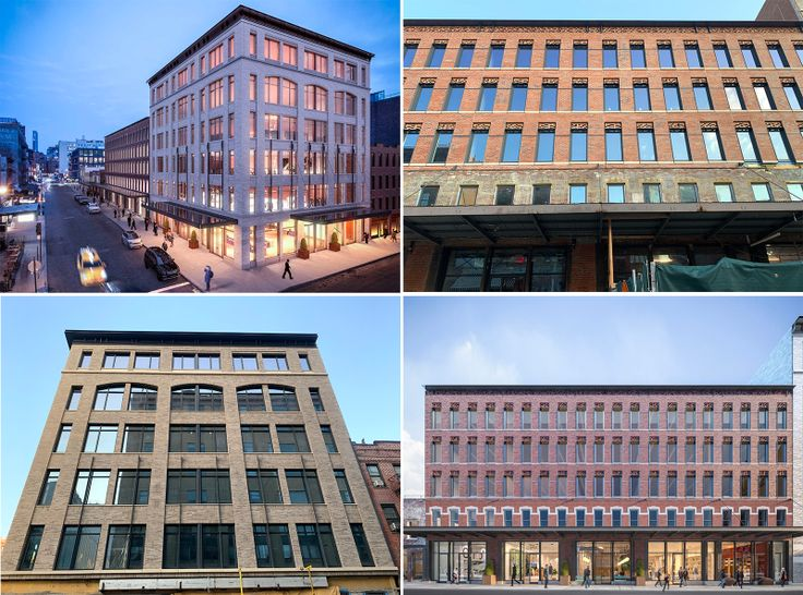 Renderings and recent photos of the largest buildings comprising Gansevoort Row