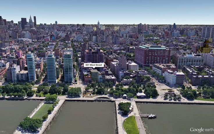 Google Earth aerial showing location of 401 West Street (CityRealty)
