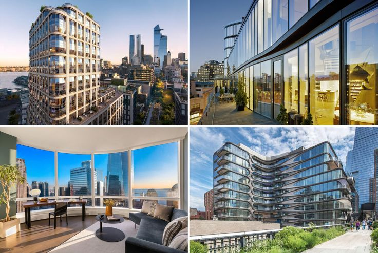 Various NYC residential buildings with curvaceous facades: Lantern House, One Jackson Square, 111 Murray Street, 520 West 28th Street