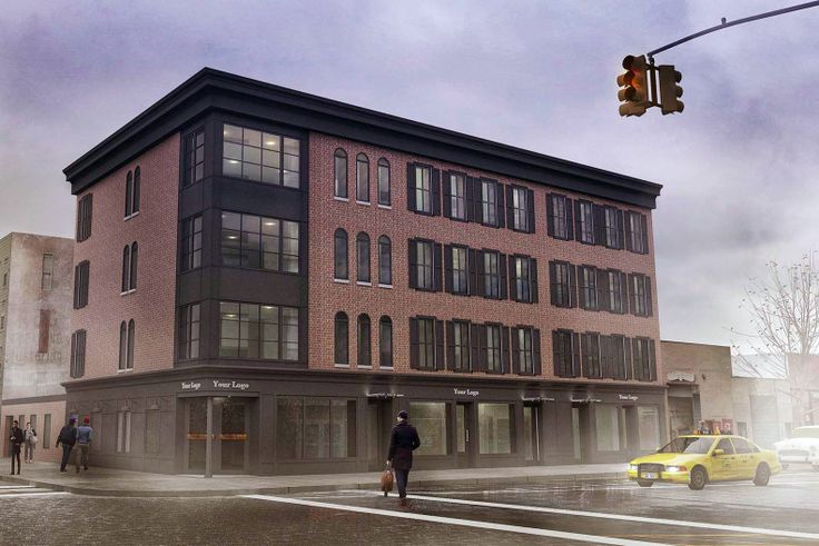A rendering of the restored buildings at 119-125 Kent Avenue in Williamsburg (Image via Input Creative Studio)