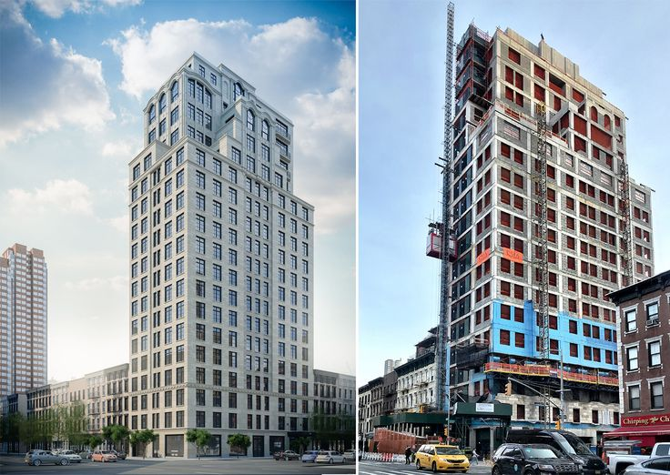 Current Rendering of 301 East 81st Street (Issac|Stern Architects) and construction progress as of early January 2019 (CityRealty)